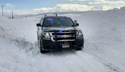 Idaho State Police SUV in snow