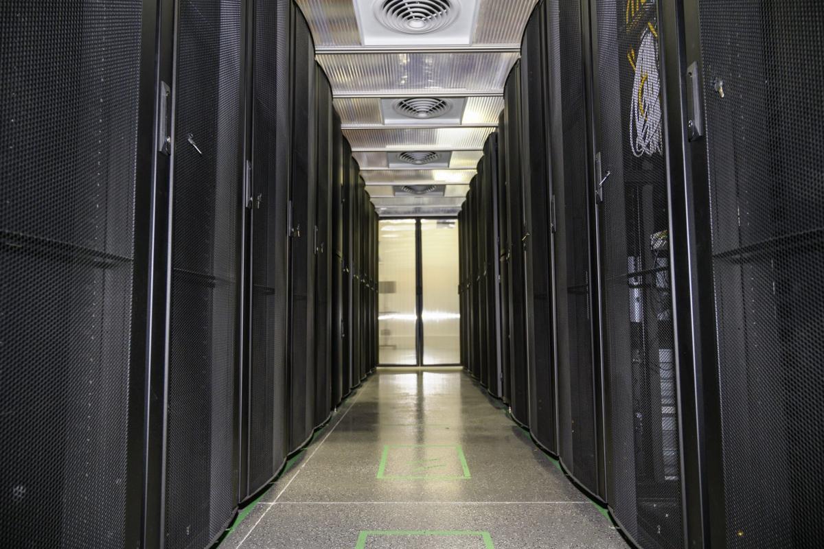 Server racks inside Nuvek's new regional data cente