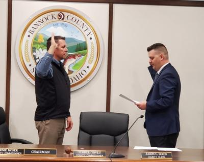Bannock County Commissioner Jeff Hough being sworn-in