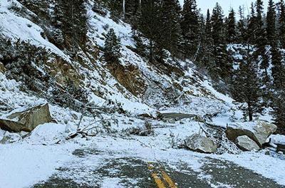 Landslide across Idaho Highway 21 north of Lowman ITD photo