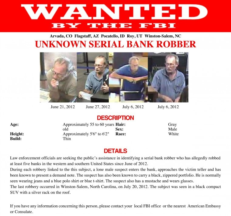 FBI Seeks Public Assistance To Catch Serial Bank Robber