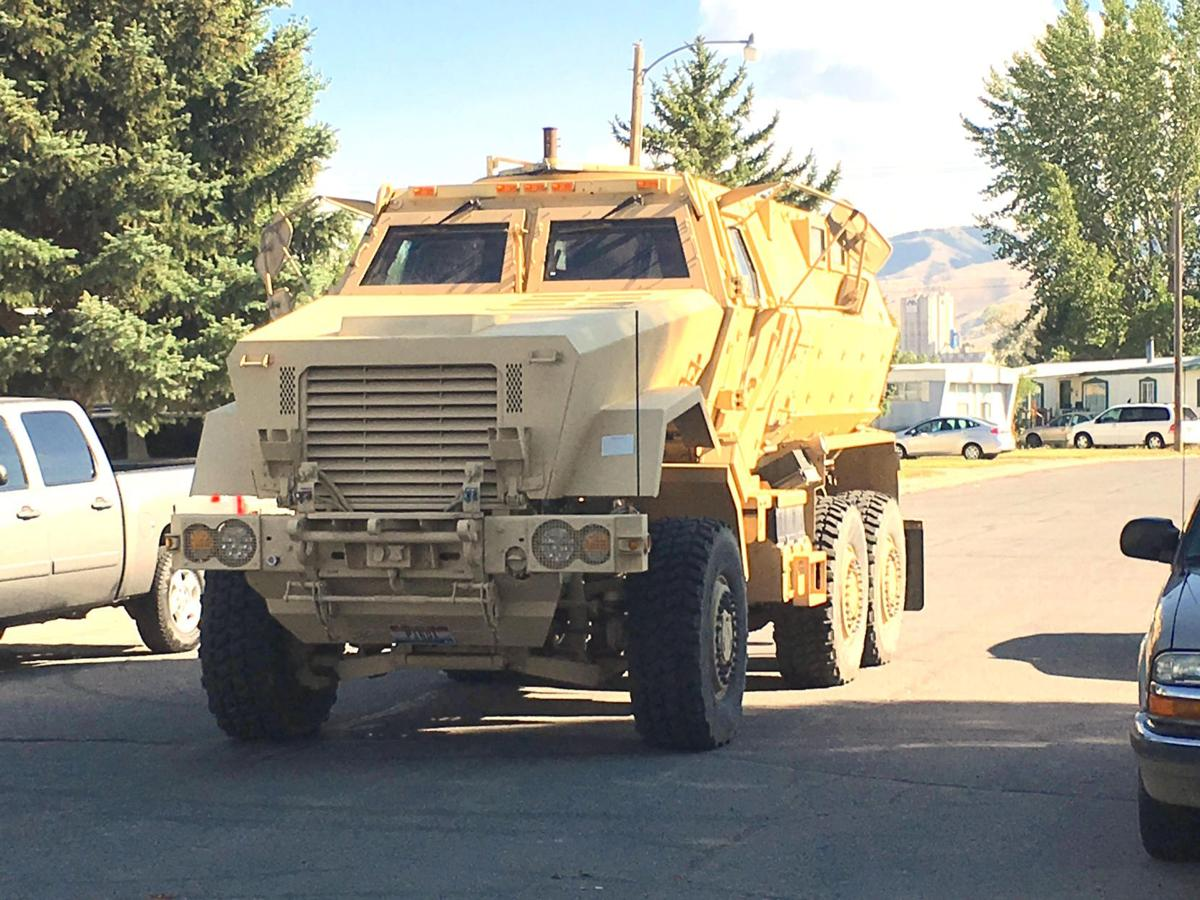 Police armored vehicle responds to standoff
