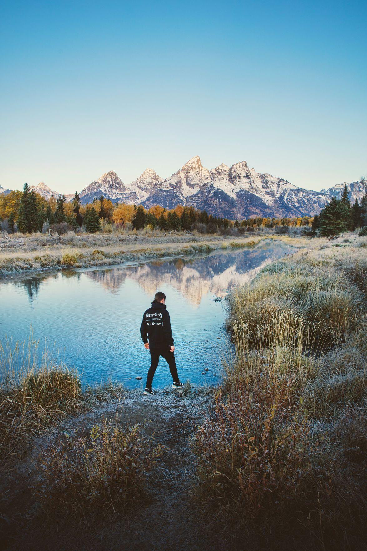 Reflections on Schwabacher Landing in Grand Teton National Park.