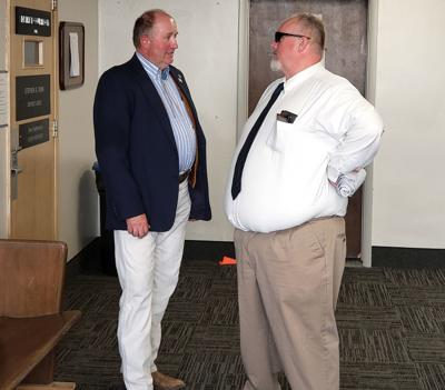James McGahey talking to Craig Parrish