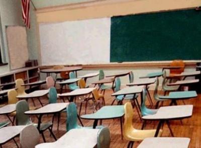 Empty classroom school closed file photo stock image