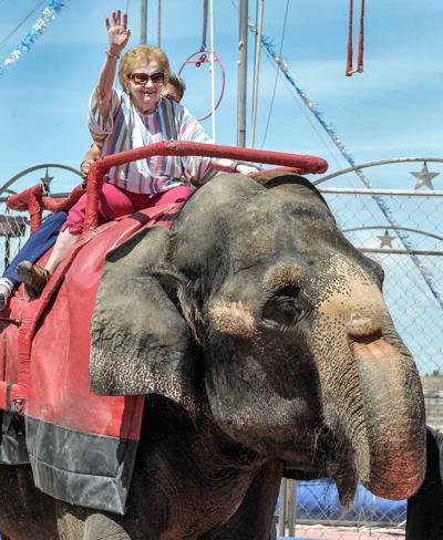 Naomi Wilde rides elephant