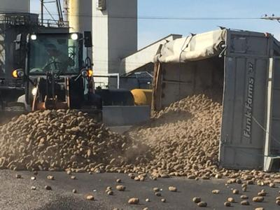 Potato truck topples over near Simplot