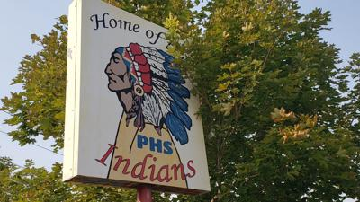 Home of the PHS Indians (Pocatello High School) sign