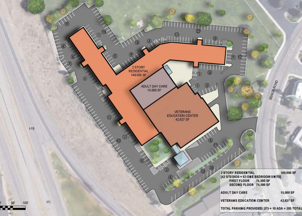Overhead view of site plan for Clarion Inn veteran services center