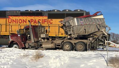 Semitrailer struck by train