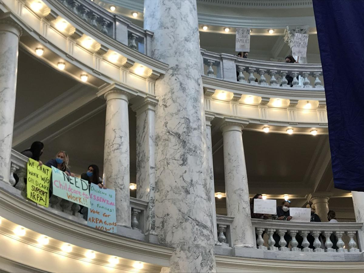 Multi floor full size child care protest 5-3-21