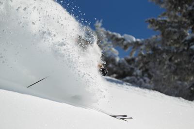Skiing Deep Powder