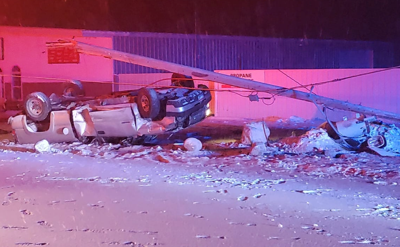 American Falls pickup truck crashed into power pole