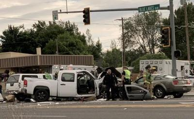 WOMAN DEAD, FIVE OTHER PEOPLE INJURED IN FOUR-VEHICLE WRECK   Local