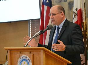 <p>Dr. Michael Maxwell, a Mar Vista Alumni who currently works with sophomores in the Poseidon Academy on microbes in the Sloughs, was the key note speaker at the first annual Poseidon Academy Presentation Night.</p>