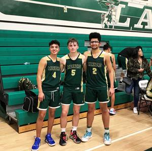 <p>The Three Amigos ... The three seniors from the Mar Vista Boys Basketball team are from left, No. 4 Pete Flores, No. 5 Dylan Wolfe and No. 2 Gabe Schiazza.</p>