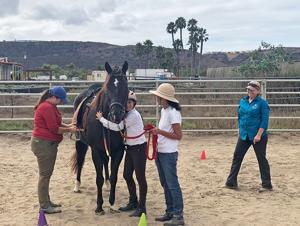 """<p>Horse therapy student Alessandra Wissmiller said goodbye to the horse """"Magic"""" before leaving the ranch. She was assisted by, from left, volunteer Elyssa Meyers, instructors Francesca Buitenkant and Evelyn Meyers, back.</p>"""