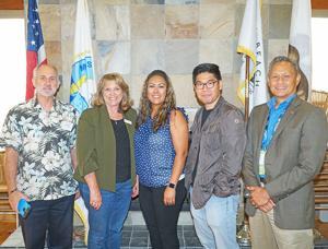<p>Imperial Beach Chamber of Commerce Board of Directors with guest speaker, Erika Cortez. From left, David Ray, Mind Masters; Karen Odermatt, Mobile Notary; Erika Cortez, Deputy City Manager; Ed Kim, Tin Fish; and Dante Pamintuan, Realtor.</p>