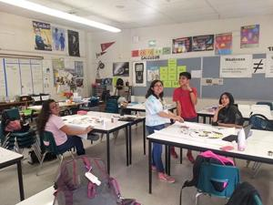 <p>The new Art and Comics Club at Mar Vista occasionally makes posters for assemblies and looks forward to building on other areas the club can contribute to Mar Vista High. From left, Maggie, Maricela Acosta, Jamie Garcia, and Enrique Guillen.</p>