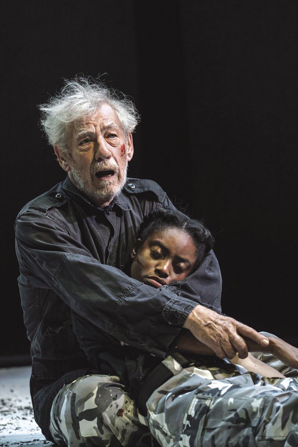 LIV - Bankhead Reopens - NTL 2018 King Lear - Ian McKellen (King Lear) and Anita-Joy Uwajeh (Cordelia) at Duke of Yorks Theatre.tif