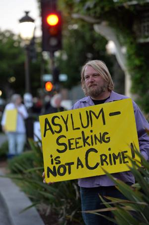 About 200 people participated in Lights for Liberty, a vigil to end human detention camps, on Friday, July 12th. Livermore Indivisible hosted the event, which took place at the flagpole in downtown Livermore. The vigil was intended to draw attention to the inhumane conditions faced by refugees being held in confinement. (Photos – Doug Jorgensen)
