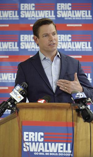 <p>Congressman Eric Swalwell announced his withdrawal from the 2020 presidential race at a Monday press conference held at his campaign headquarters, 6250 Village Parkway in Dublin.</p>