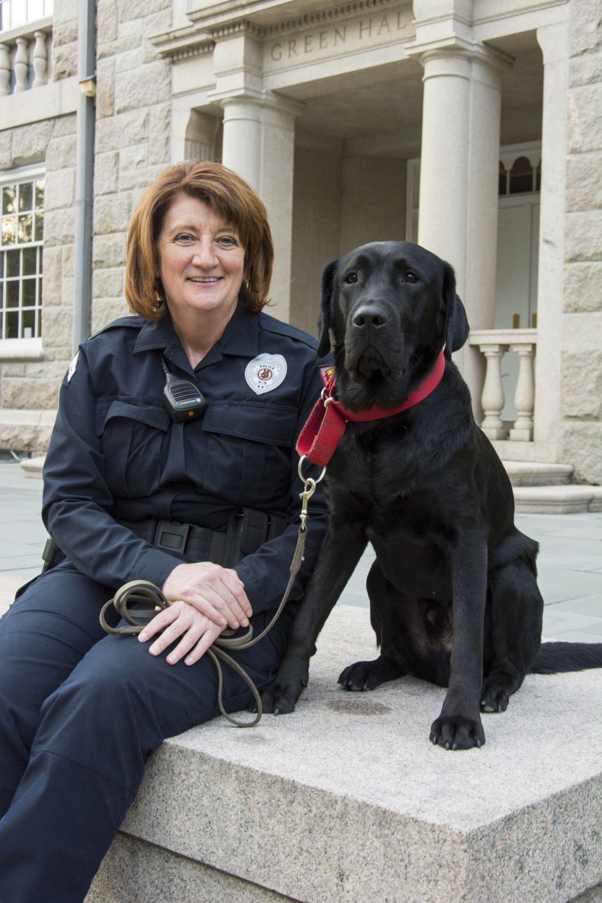Sergeant Erica Viera with Figaro
