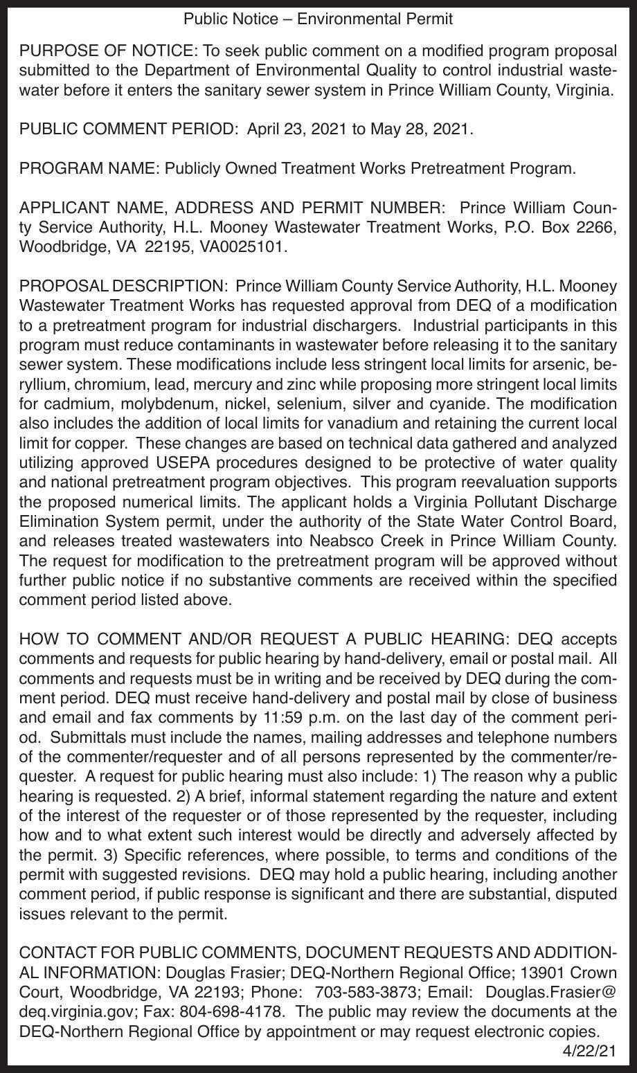 Public Notice – Environmental Permit