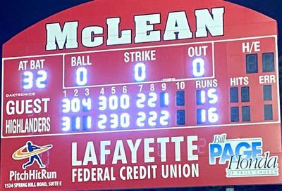 McLean softball scoreboard