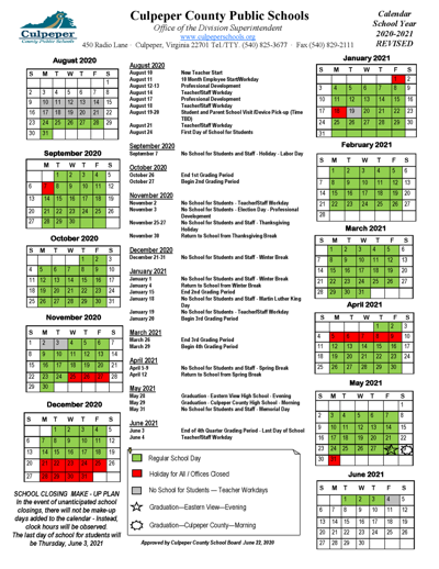 Culpeper County School Board agrees to revised '20-21 schedule