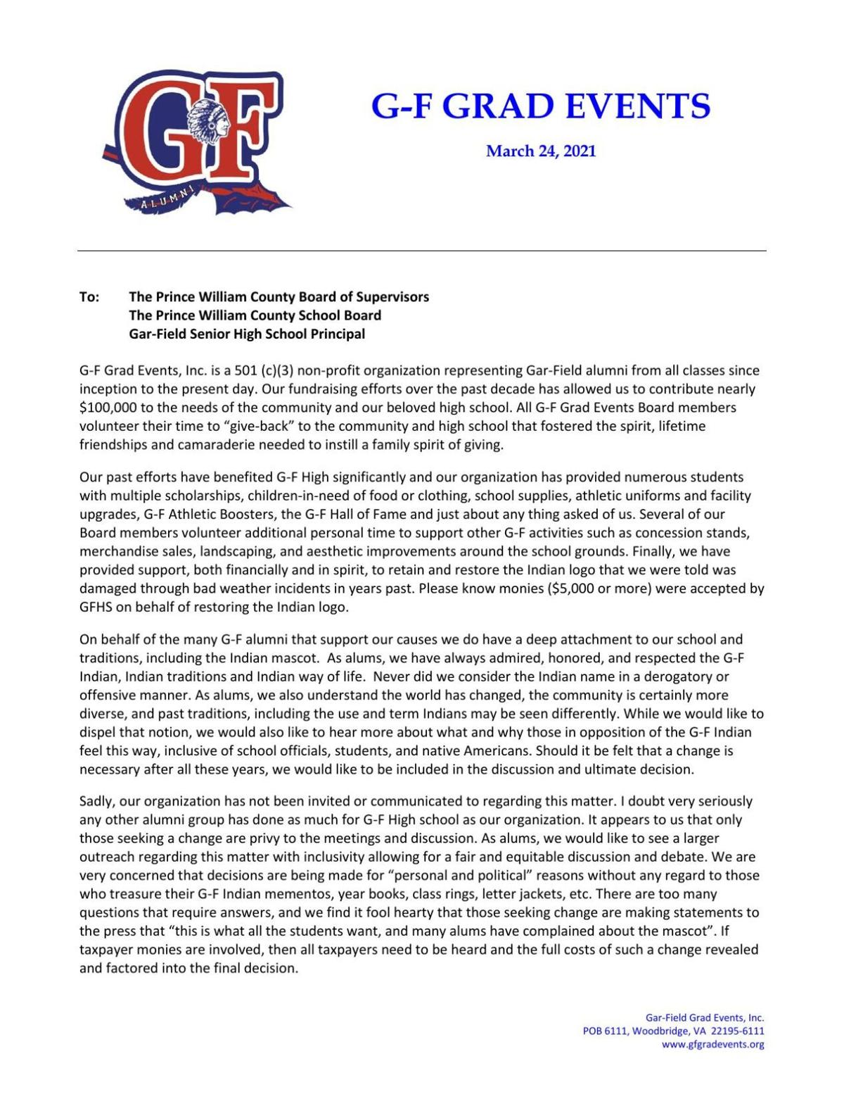 Read the letter from Gar-Field Grad Events