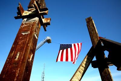 9/11 remembrance ceremony flag/monument