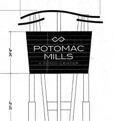 a39dea0d2 New Potomac Mills sign slowly rising along Interstate 95