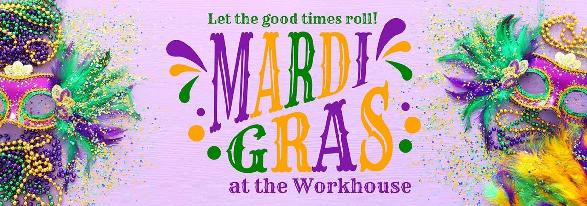 Mardi Gras event at Workhouse Arts Center logo