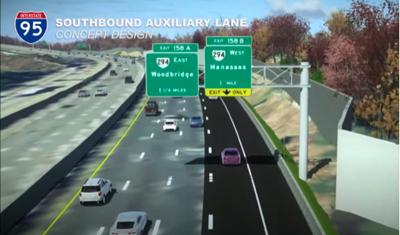 95 auxiliary lane Woodbridge
