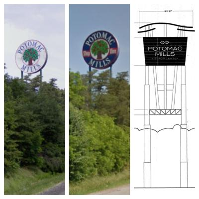 828e223744 New design planned for 140-foot-tall Potomac Mills sign along I-95 ...