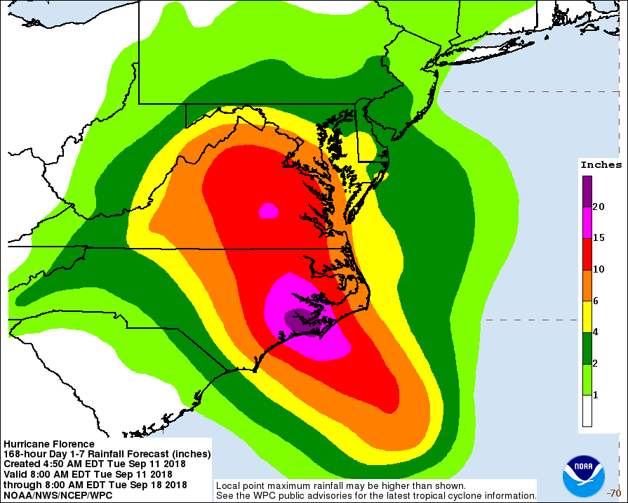 Projected Rainfall from Hurricane Florence