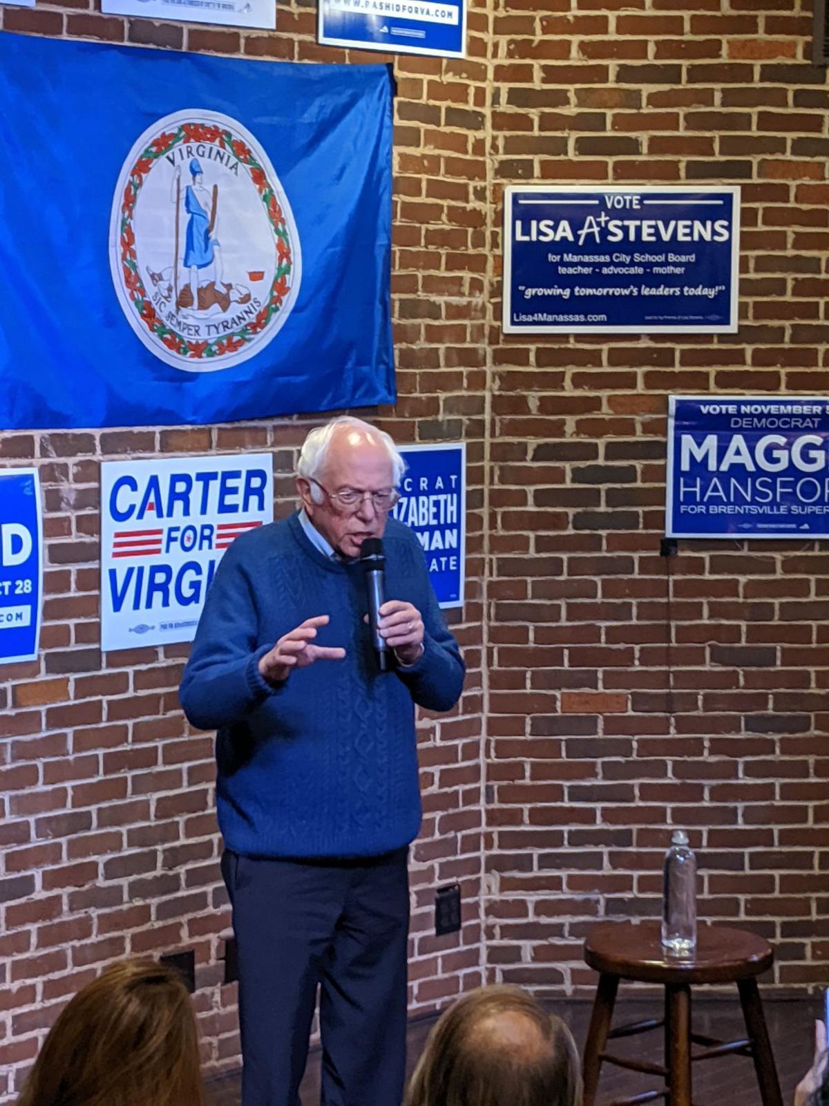 Sanders campaigns for Democrats in Manassas visit