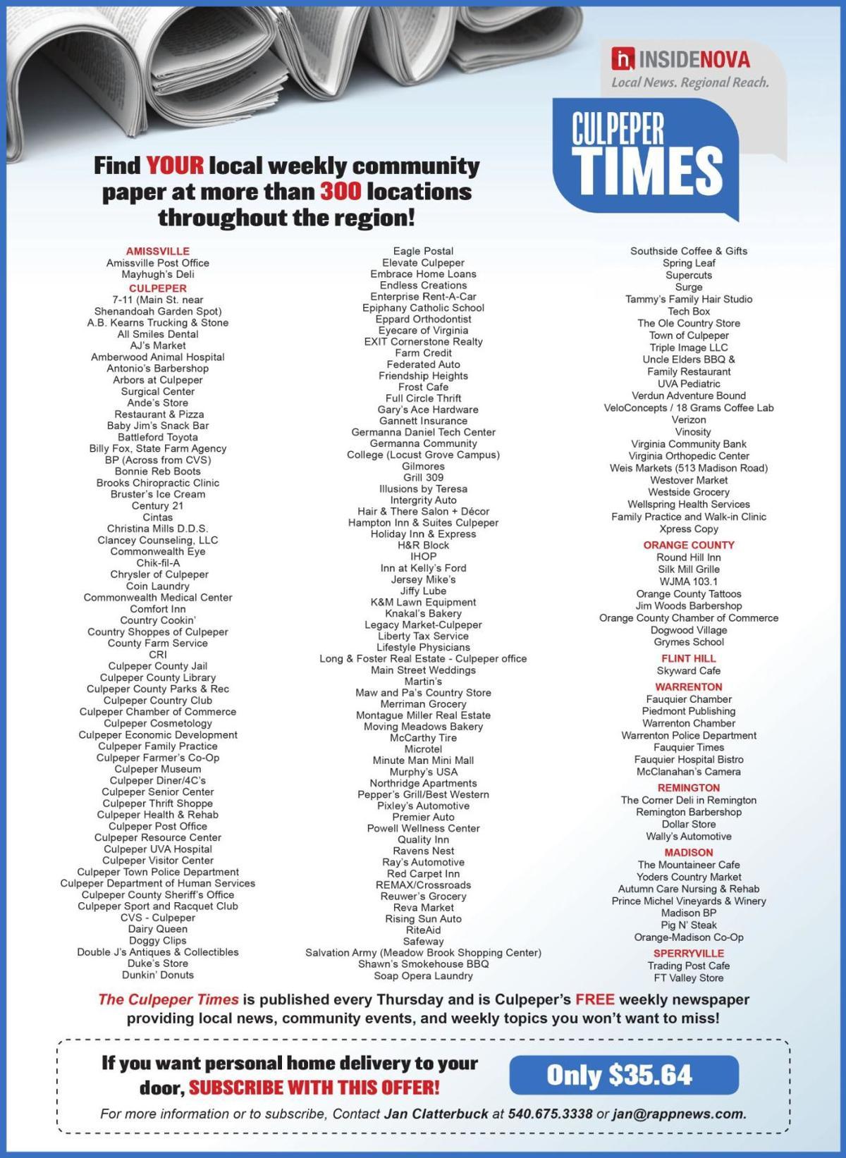 Culpeper Times: Find a Paper