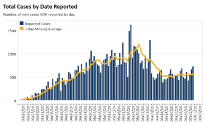 Virginia COVID-19 case chart