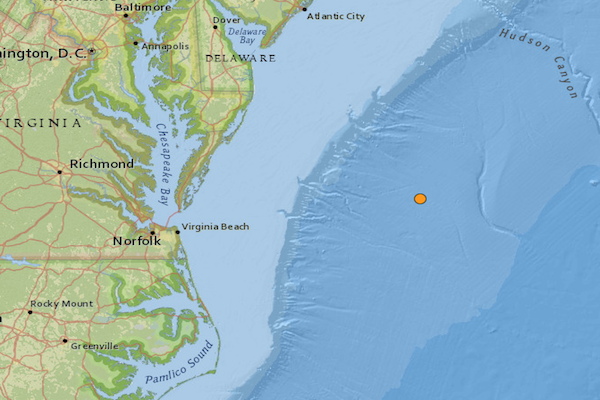 Magnitude 4.7 earthquake recorded off the coast of Virginia Beach