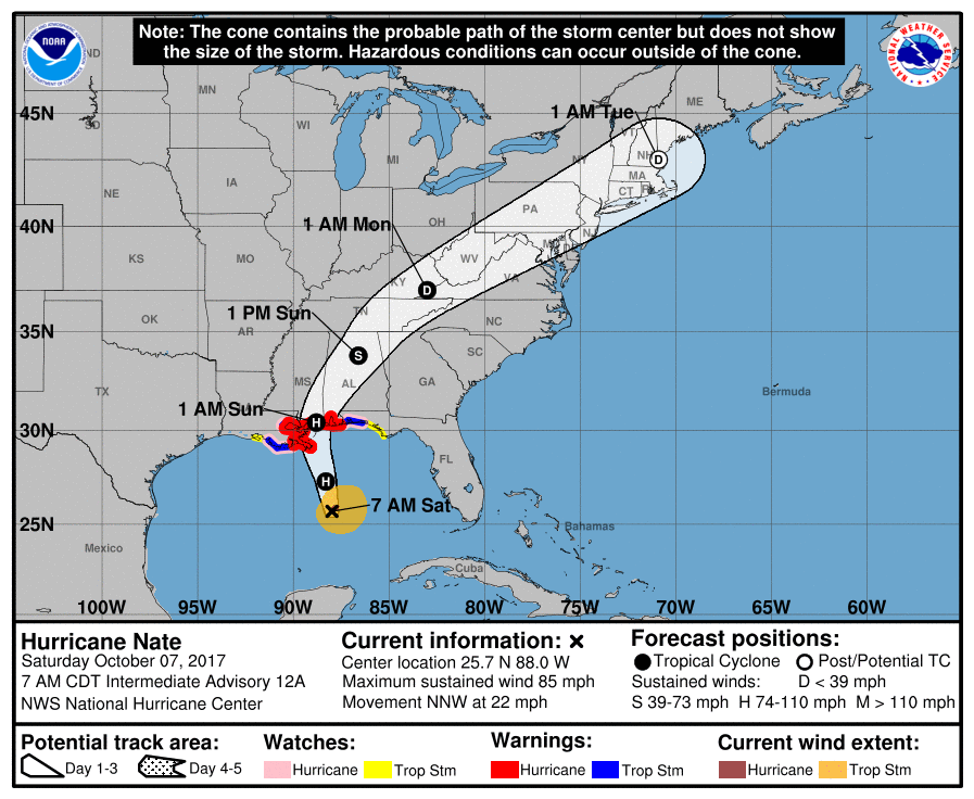 Tropical Storm Nate strengthens, could hit United States over weekend