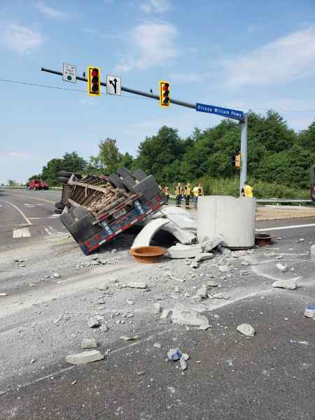 Tractor-trailer overturns on Prince William Parkway