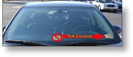 Virginia inspection stickers moving across the windshield
