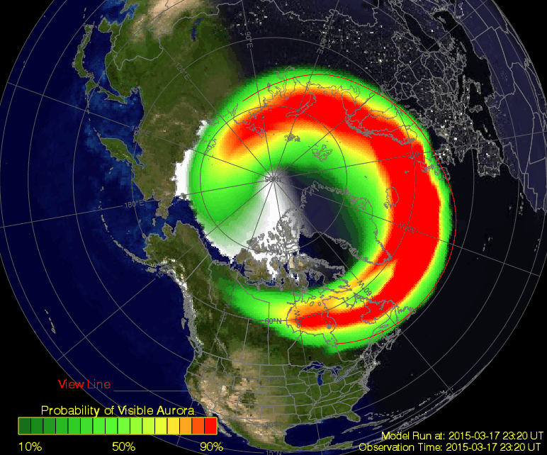 NOAA aurora prediction map