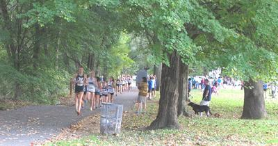 Runners in Bluemont Park