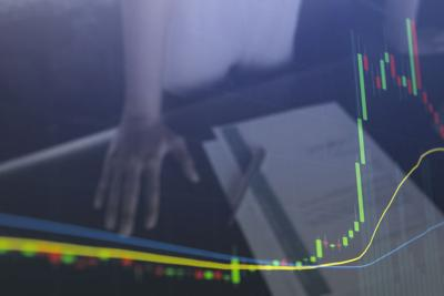 Stock market investment sees rise in value and profits. Business and finance concept.