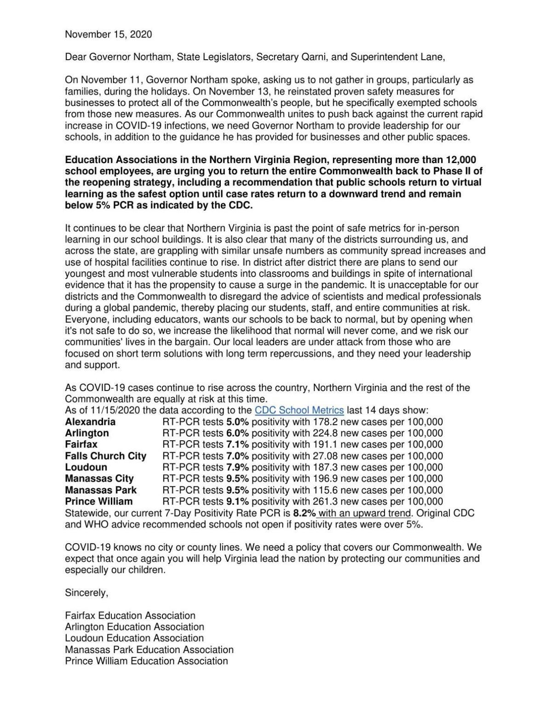 Teacher association letter to Gov. Northam