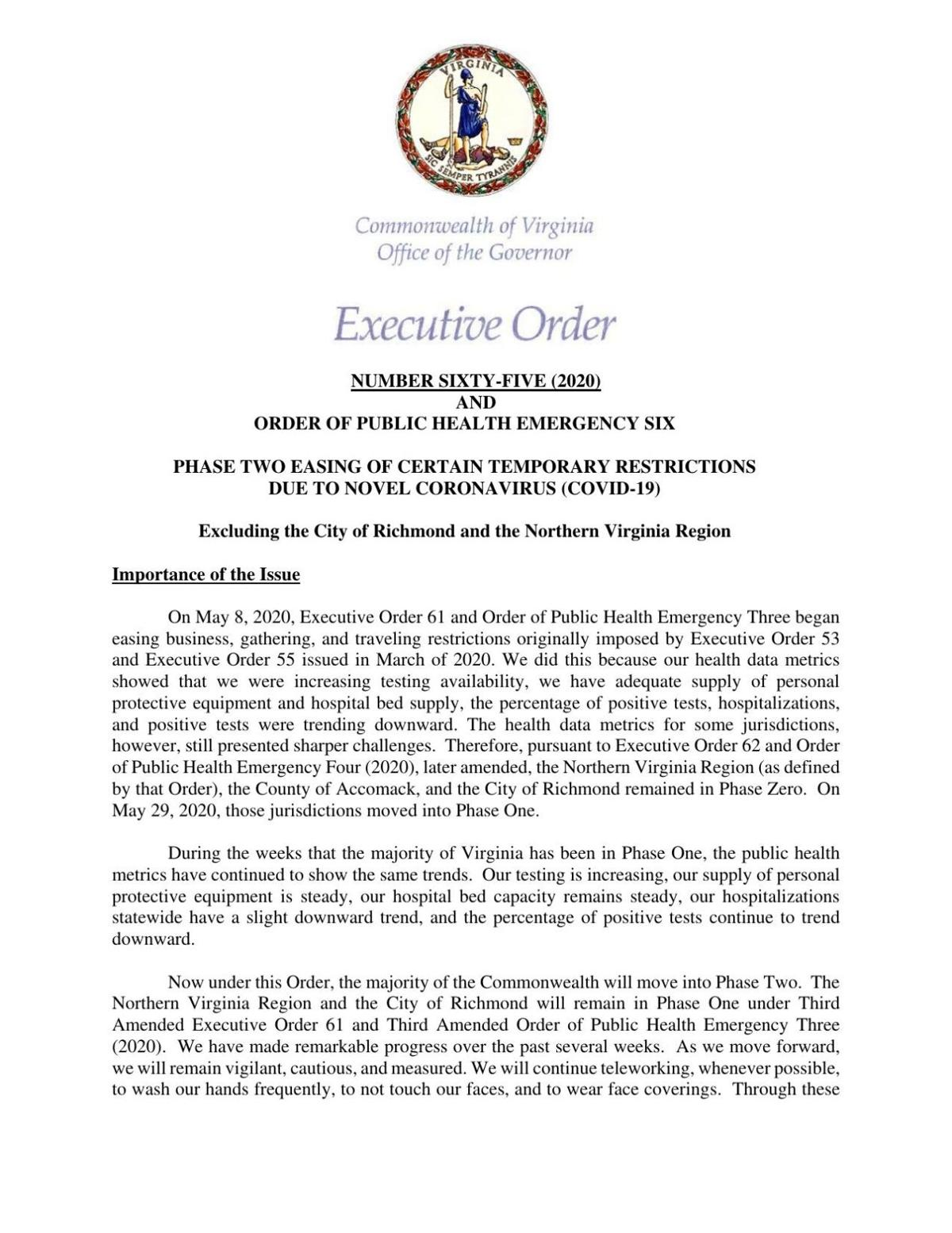 Phase Two Executive Order