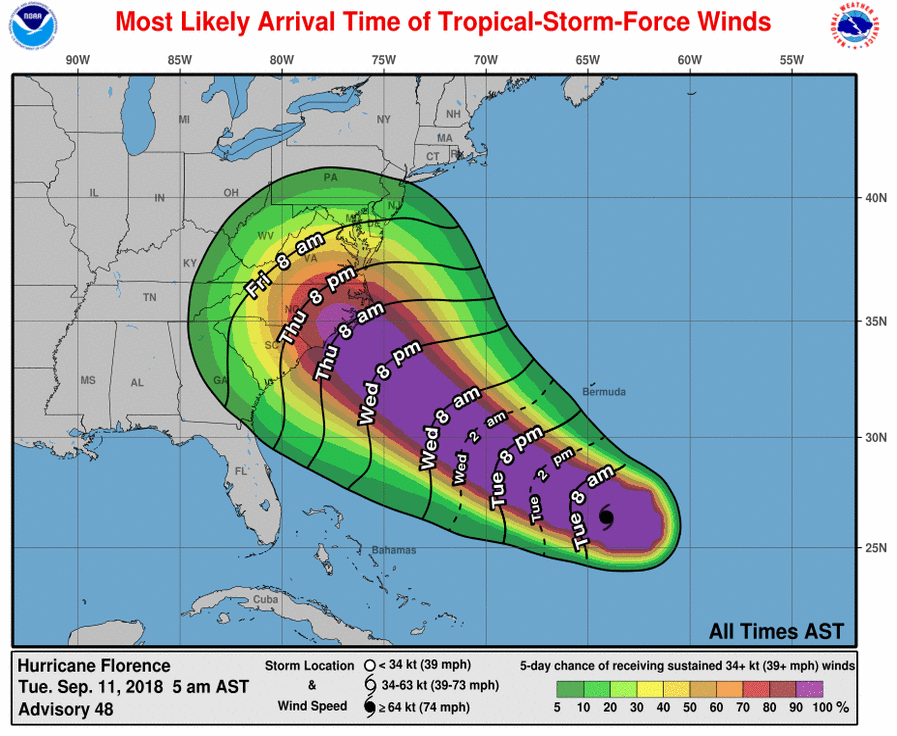 Most Likely Arrival Time of Tropical-Storm-Force Winds